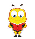 Bee reading a book Royalty Free Stock Photo