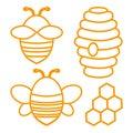 Bee set. Outline design. Vector