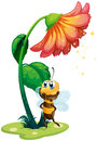 A bee standing under the big flower illustration of on white background Royalty Free Stock Photos