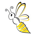 Bee stylized symbol black and yellow Royalty Free Stock Photography
