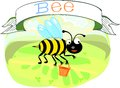 Bee with title cute striped Stock Images