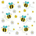 Bee vector with daisy flower. Spring pattern vector background