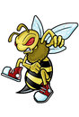 Bee wasp hornet sports mascot Royalty Free Stock Image