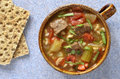 Beef barley soup hearty healthy and vegetable from overhead perspective Royalty Free Stock Image