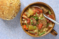Beef barley soup hearty healthy and vegetable from overhead perspective Stock Image
