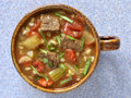 Beef barley soup hearty healthy and vegetable from overhead perspective Royalty Free Stock Photography