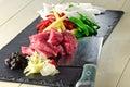 Beef in black bean stir fry ingredients Stock Photo