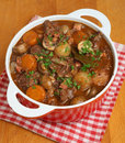 Beef bourguignon classic french stew in casserole dish Stock Images