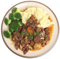 Beef bourguignon stew dinner with mashed potato and broccoli Stock Photos