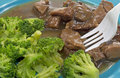 Beef Broccoli Plate Side Close Royalty Free Stock Photo