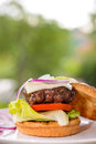 Beef burger detail of delicious grill on table home made and prepare in the country Royalty Free Stock Image