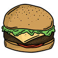 Beef Burger Fast Food Line Art Vector Illustration Clip Art Royalty Free Stock Photo
