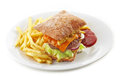 Beef burger and french fries on white plate Stock Images