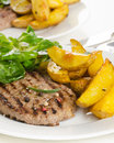 Beef burger with the roasted potato, side salad and spices on wh Royalty Free Stock Photo