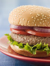 Beef Burger in a Sesame Seed Bun Royalty Free Stock Photos