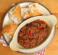 Beef chilli or chili with crusty baguette con carne bread Royalty Free Stock Image