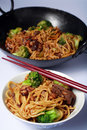 Beef chinese chow mein wok Stock Photos