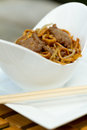 Beef chow mein al fresco in bowl Royalty Free Stock Images