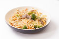 Beef chow mein bchow with sliced and vegetables or mien Stock Photos