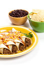 Beef enchiladas gourmet mexican food with cheese Stock Images