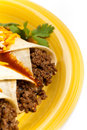 Beef enchiladas gourmet mexican food with cheese Royalty Free Stock Photography