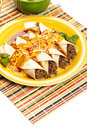 Beef enchiladas gourmet mexican food with cheese Royalty Free Stock Photos