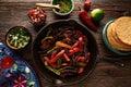 Beef Fajitas In A Pan With Sau...