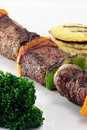 Beef fillet skeewers plate Royalty Free Stock Photo
