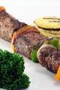 Beef fillet skeewers plate Royalty Free Stock Photo