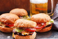 Beef hamburgers with salad of tomatoes and onion with beer Royalty Free Stock Photo