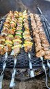 Beef kababs on the grill closeup Royalty Free Stock Photo
