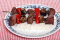Beef kabobs with vegetables Royalty Free Stock Photo