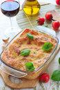 Beef lasagna in the casserole dish Stock Image