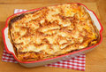 Beef lasagna food in casserole dish homemade made from a traditional recipe from emilia romagna northern italy Stock Images