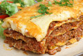 Beef lasagna or lasagne with salad shallow dof focus to the right of image center Royalty Free Stock Photo