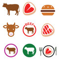 Beef meat, cow icon set