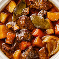 Beef meat stewed with potatoes close up Royalty Free Stock Photo