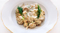 Beef meatballs with fungi porcini cream sauce seasoned fresh dill Stock Images