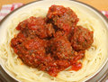 Beef meatballs with pasta in tomato sauce Stock Images