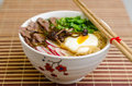 Beef and miso ramen with noodles spring vegetables Royalty Free Stock Photo