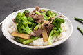 Beef N' Broccoli Stir Fry angled shot Royalty Free Stock Photo