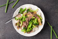 Beef N' Broccoli Stir Fry top view Royalty Free Stock Photo