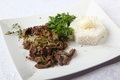 Beef with onions and rice side dish Royalty Free Stock Photo