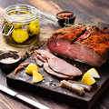 Beef pastrami sliced, roast beef  with marinated Turkish cuisine Royalty Free Stock Photo