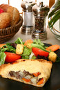 Beef Pastry and Salad Stock Photography