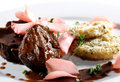 Beef Plate with Potatoes Galette Royalty Free Stock Photos