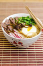 Beef ramen delicious with miso paste meat and vegetables Stock Image