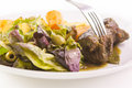 Beef roulade with potatoes and salad Royalty Free Stock Images