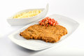 Beef schnitzel on white plate Royalty Free Stock Image