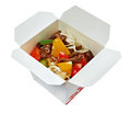 Beef slice and udon noodle chinese cuisine in take out box Stock Photo